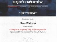 sara-certyfikat-kongres-krajowa-izba-fizjoterapeutow